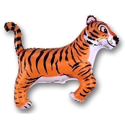 "LOONBALLOON Tiger Black Stripes Striped Jungle Zoo Safari 36"" Party Animal Mylar Balloon: Toys & Games"