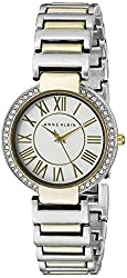 Anne Klein Women's AK/2037SVTT Swarovski Crystal-Accented Two-Tone Bracelet Watch