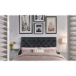Bedroom Iconic Home Rivka Headboard Velvet Upholstered Diamond Button Tufted Modern Transitional Full/, Queen, Black modern headboards