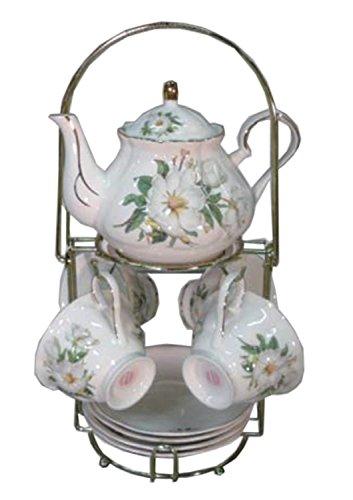 Green Pastures Wholesale Magnolia Porcelain Wide Shape Tea Set, 7-Inch by 5-Inch (Magnolia Porcelain)