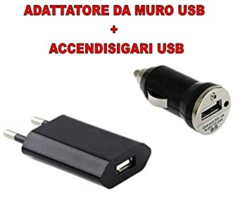 Kit 2 caricabatteria- adaptador de pared USB + Cargador ...