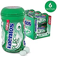 Mentos Pure Fresh Sugar-Free Chewing Gum with Xylitol, Spearmint, Valentines Day Gifts, Bulk, 50 Piece Bottle (Pack of 6)