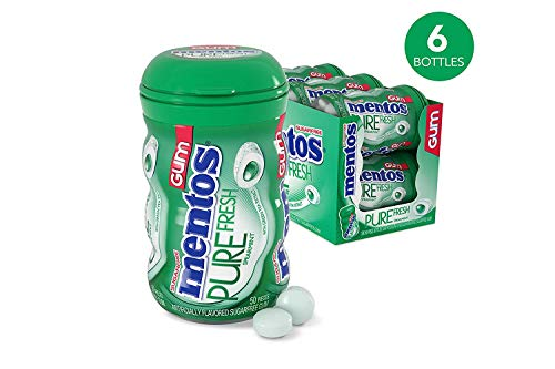 Mentos Pure Fresh Sugar-Free Chewing Gum with Xylitol, Spearmint, 50 Piece Bottle (Pack of - Car Mentos