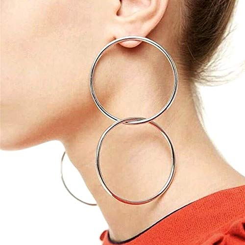 QTMY Statement Big Large Unique Hoop Earrings for Women Stainless Steel Double Round Circles - Double Round Hoop Gold