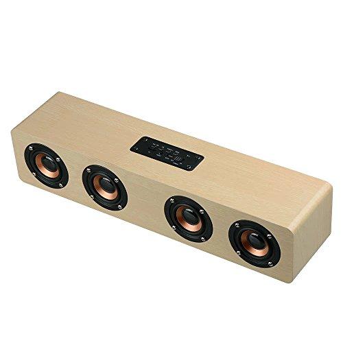 3D Wireless Bluetooth Subwoofer Wood Speaker, elcfan Portable Stereo Sound Bar for Desktop, Laptop,PC, TV, Home Theater - Light Brown by elecfan (Image #7)