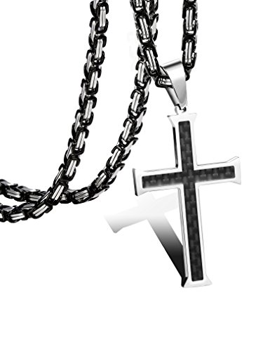 FIBO STEEL Stainless Steel Carbon Fiber Cross Necklace for Men Byzantine Chain Necklace 5MM,24 Inches