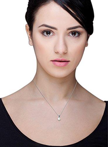 Miore - Collier Femme - Or blanc 375/1000 (9 carats) 1.3 gr - Saphir - Perle d'eau douce