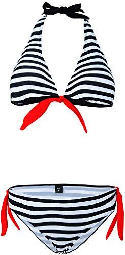 Nero Appeso Donna Set Costumi Strisce Bikini Bagno Bettydom Collo da e Mare Spiaggia xXSxBw7