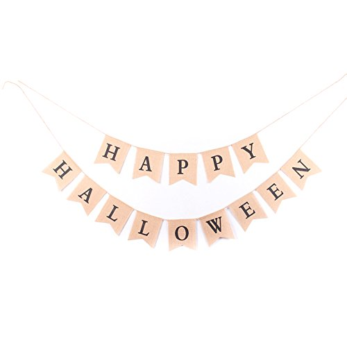 Junxia Happy Halloween Burlap Banner for Halloween Decoration (Banner De Halloween)