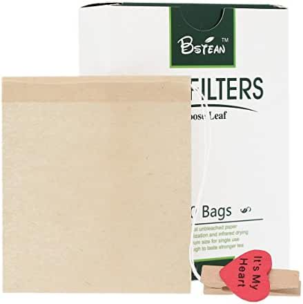 Bstean Disposable Tea Filter Bags with Unbleached Paper and Clip, Medium (100-Pieces)