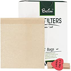 Bstean Tea Filter Bags Disposable Tea Infuser with Drawstring for Loose Leaf Tea with 100% Natural Unbleached Paper and Free Clip (100 PCS)