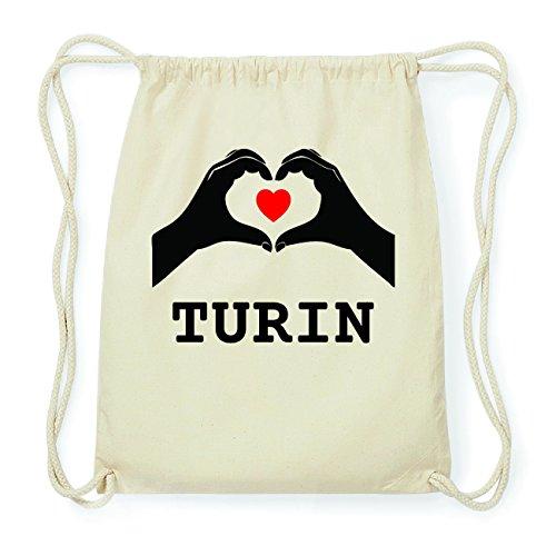 JOllify TURIN Hipster Turnbeutel Tasche Rucksack aus Baumwolle - Farbe: natur Design: Hände Herz
