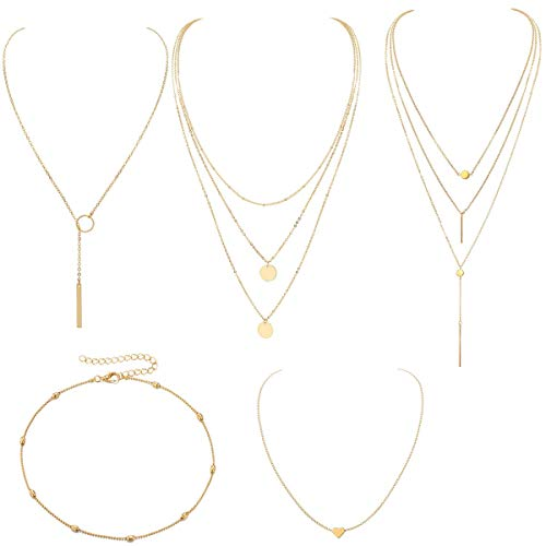 (Layered Gold Boho Necklace Pendant for Women Multilayer Chain Beads Leaf Disc Charm Costume Jewelry 4Pcs-B H100H1496)
