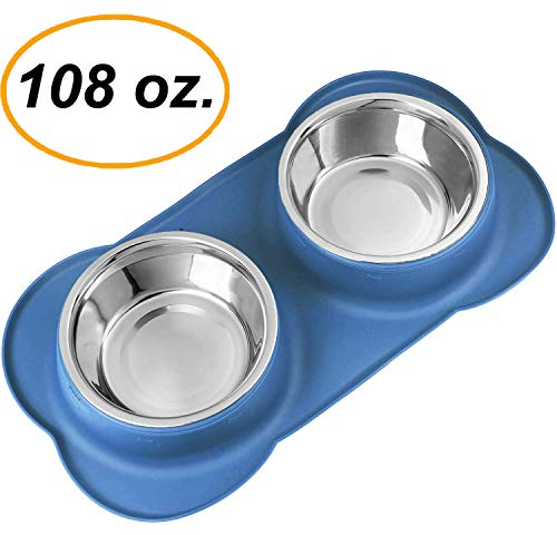EZPETZ Large Dog Bowls – Two 54 oz. Stainless Steel Dog Bowls with No Spill Non-Skid Silicone Mat – Water Bowl and Food…