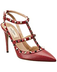 Please note: Size selections are European. For US conversions, please reference size chart.. Made in Italy. Color/material: red leather. Design details: platinum-finish rockstuds. Adjustable ankle strap with buckle closure. Lightly padded lea...
