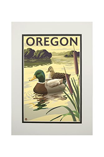 Oregon Ducks Framed - Mallard Ducks - Oregon (11x14 Double-Matted Art Print, Wall Decor Ready to Frame)