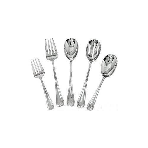 Complete Elegant Regency Line 5-Piece Flatware Serving Set, Utensil Serving Set, Buffet Banquet Serving Spoons (RE-115), Serving Forks (RE-119), 18/8 Gauge Stainless Steel, Stainless Steel Oval Platter (OP-16) - Oval Serving Spoon