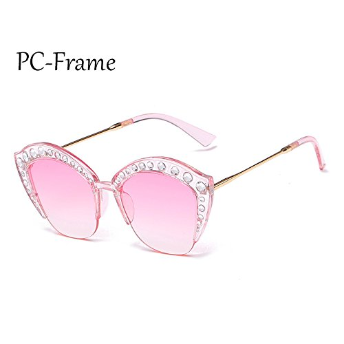 Mujer de de sol Medio Marco de PC G161 TL marco gato ojo Frame gafas señoras Rhinestone PC C3 C6 Sunglasses tonos de Gafas sexy I4ExqSY