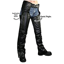Xelement B7556 Womens Black Braided Zippered Leather Chaps - 4