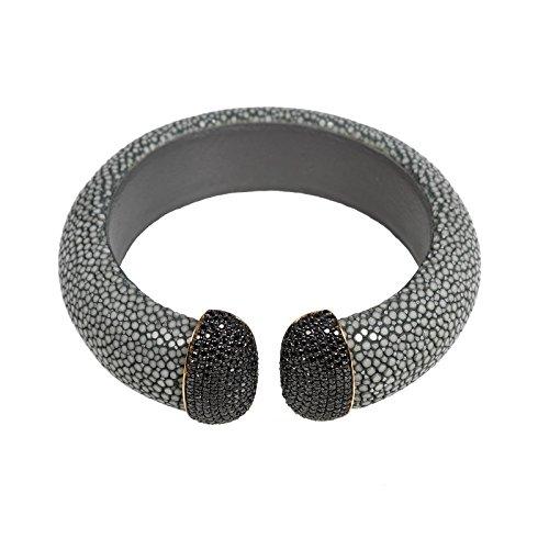 Stingray Cuff Gold - Steel (Grey) Black CZ