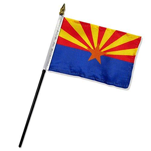 Quality Standard Flags DFBarizona One Dozen Arizona Stick Flag, 4 by 6