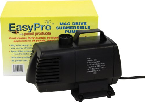 EasyPro EP2200 Submersible Mag Drive Pond Pump, Max Flow 2200 Gallons-Per-Hour by EasyPro Pond Products