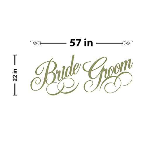 Bride and Groom Label Wall Decal (Olive, 22