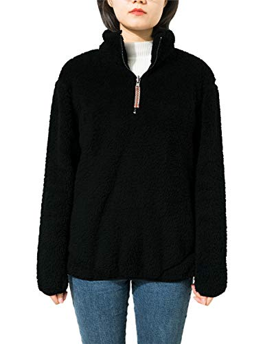 - Jjyee Fleece Sherpa Pullover Womens 1/4 Zip Fleece Fuzzy Sweatshirt Reversible Pullover Long Sleeve Soft Outwear Sweater (Black,Medium)