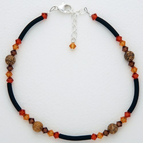 Anklet - Amber Color Crystals and Picture Jasper, Silver Chain Extension