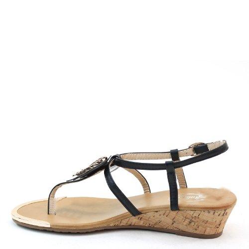Nieuwe Brieten Dames Vlinder T-strap Lage Sleehak Slingback Comfort Sandalen Zwart