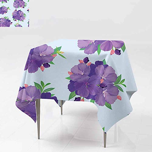 Fbdace Spill-Proof Table Cover,Seamless Pattern with Beautiful Purple Princess Flower or tibouchina urvilleana and Leaf on Blue Background Dinner Picnic Table Cloth Home Decoration 60x60 Inch