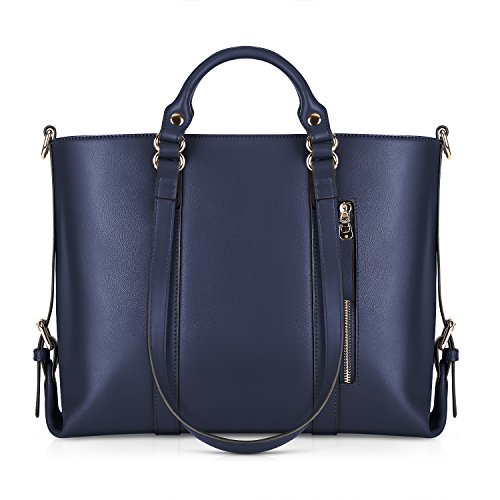 Kattee Urban Style 3-Way Women's Genuine Leather Shoulder Tote Bag, Dark Blue