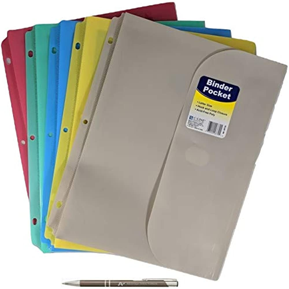5 Binder Pockets Pack Poly With Hook And Loop Closure, 1