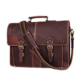 Image of Briefcases 17' Leather Briefcase Messenger Bag for Laptop by Aaron Leather (Raven)