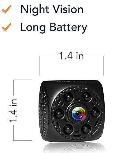 qid - Portable with and Without WiFi Hidden Camera Night Vision 170° Wide Angle Battery Rechargeable Motion Detection HD Video ()