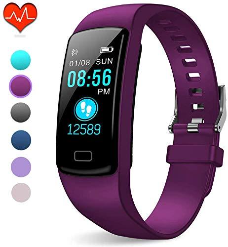 PUBU Fitness Tracker, IP67 Waterproof Fit Watch with Heart Rate Monitor,Sleep Monitor, Pedometer Watch for Women Men Kids (Deep Purple)