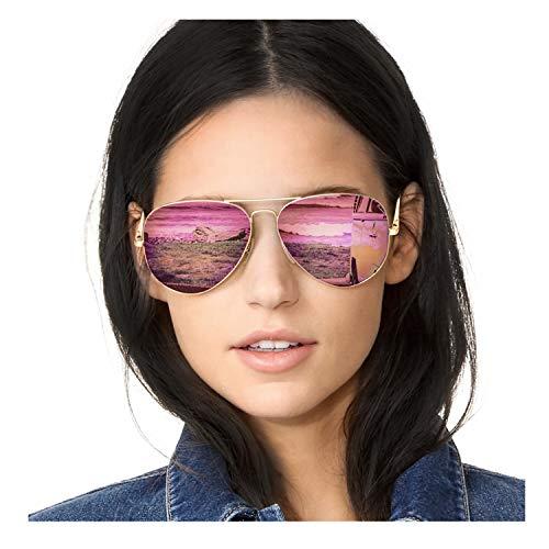 SODQW Aviator Sunglasses for Women Polarized Mirrored, Popular Large Metal Frame Sun Glasses, UV 400 Protection Classic Style (Matte Gold Frame/Pink Mirror Lens)