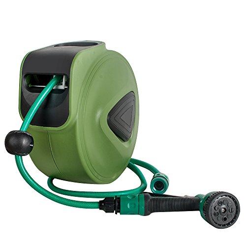 (Lolicute Retractable Water Garden Hose Reel, 10m Garden Hose Reel Water Drum Automatic Retractable Hose Reel for Car Wash Watering)