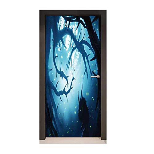 Mystic Decor Decorative Door Sticker Animal with Burning Eyes in Dark Forest at Night Horror Halloween Illustration Environmental Waterproof Navy White,W17.1xH78.7 -