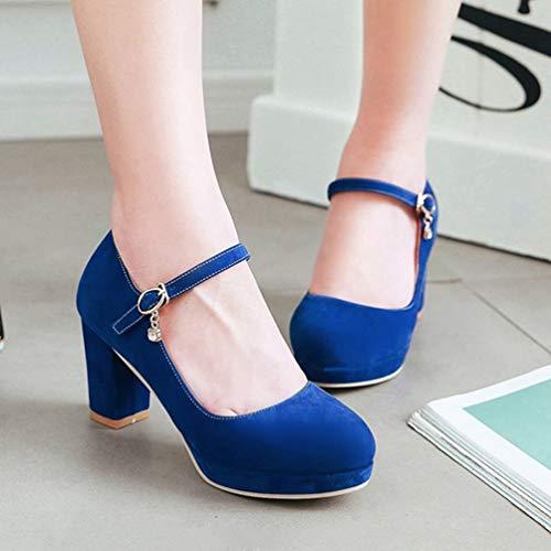 Mary Crystal forme Pompes Partie De Talon Femelles Jane Talons Femmes Plate Chaussures Buckle Hauts Bleu Épais Jrenok nA4wYzqq