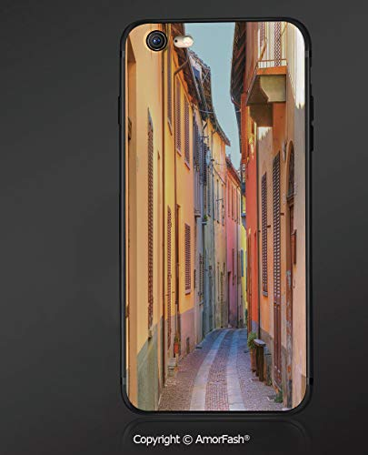 Compatible with iPhone 6 Ultra Slim Shockproof TPU Back Cover for iPhone 6S,Italy,Narrow Paves Street Among Old Houses in Town Serralunga DAlba Piedmont Decorative,Pale Orange Brown Pink