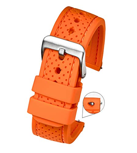 (Premium Quality Waterproof Silicone Watch Band Strap with Quick Release – Soft Rubber Watch Band - Soft Rubber Orange Watch Band 22mm)
