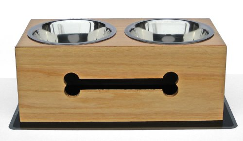 Wooden Double Diner - Raised Feeder - 7'' Tall by NMN Products