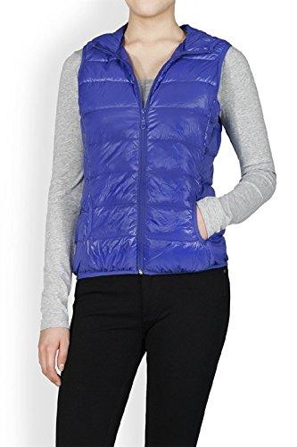 ファシズム典型的なドライブプレミアムDown Puffer Vest with Hoodie All Season Lightwear Teen Woman (ロイヤルブルー)