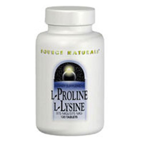 L-Proline/L-Lysine, 275 mg, 60 Tabs by Source Naturals (Pack of 2)