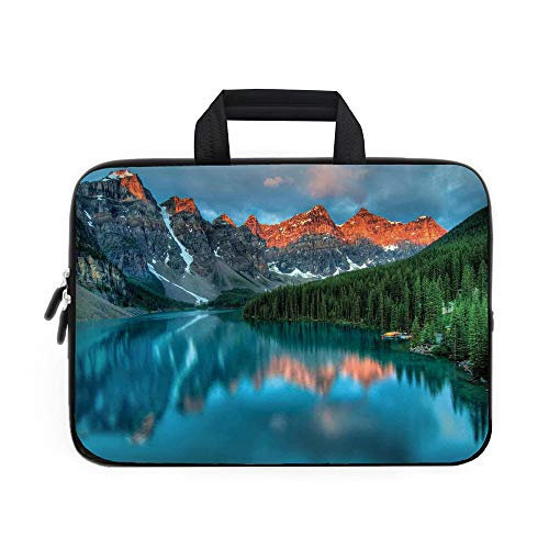 Landscape Laptop Carrying Bag Sleeve,Neoprene Sleeve Case/Morning Sunrise Moraine Lake in Banff National Park Snowy Peaks/for Apple MacBook Air Samsung Google Acer HP DELL Lenovo AsusAqua Dark Orange