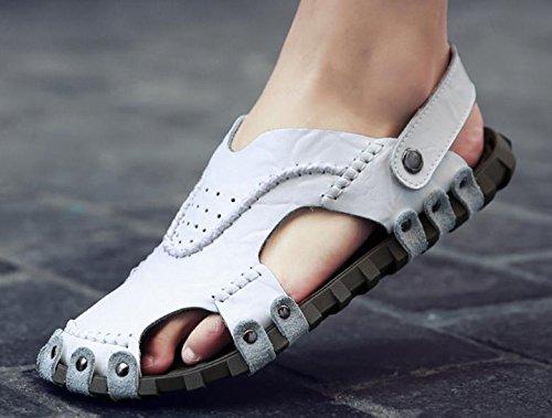 Manera Respirable Las La Nuevos Playa Los Calzan Inferiores Suaves 2017 Del De Baotou Sandalias Zapatos Hombres Personalidad Cuero White Verano rwYOqr