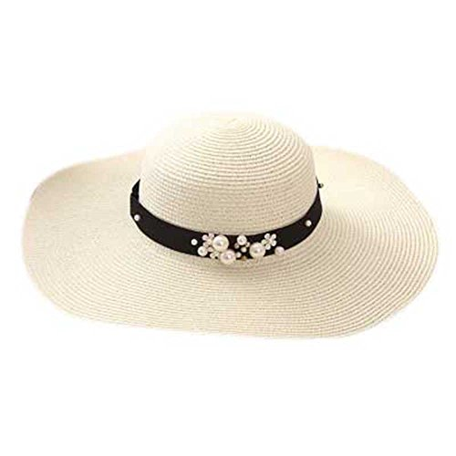 LOVEHATS Summer Sun Hats For Women Solid Large Brimmed Sun Hats Floppy Hats With Pearls Ladies Beach Hat (Lrg New Era)