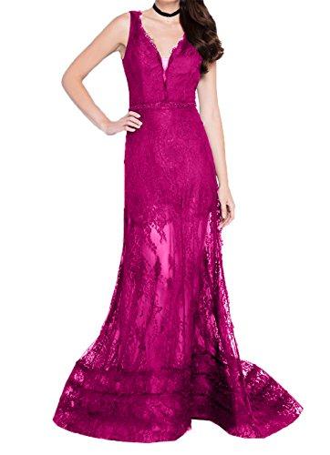 Pink Kleider Abendkleider Ballkleider Charmant Langes Jugendweihe Damen Durchsichtig Brautmutterkleider Spitze Etuikleider f8w7vR