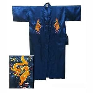 Chinese Men's Silk Satin Embroidery Kimono Robe Bath Gown with Dragon (Navy Blue, XL)